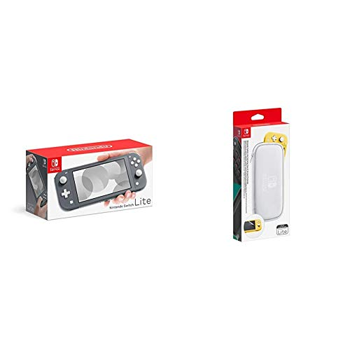 Nintendo Switch Lite - Gris & Pochette de Transport/Protection d'Ecran pour Nintendo Switch Lite
