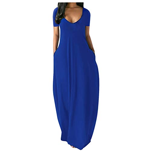 OTTATAT Dresses for Women Solid Summer Spaghetti Strap Sexy V-Neck Loose Plus Size Long Maxi Dress with Pocket Slim Soft Comfort Elegant Lightweight Holiday Mother's Day Loose Fit Party Clothing