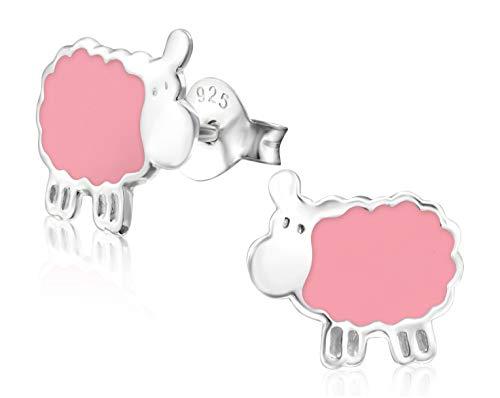 Laimons meisjes kinderen oorstekers oorbellen kindersieraden schaap dier lief roze van sterling zilver 925