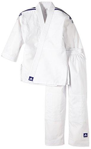 Adidas - Tenue Kimono de judo Evolution J200 T130/140- ADIJ200E - Blanc - FR : L (Taille Fabricant : 130/140)