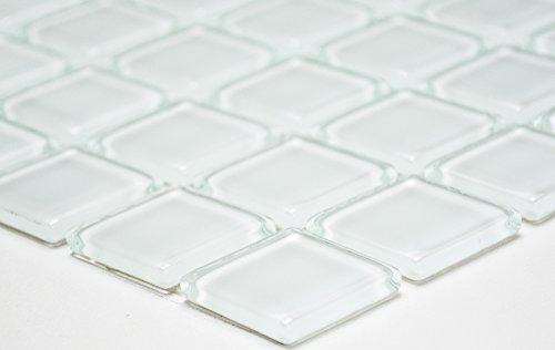 Mosaikfliese Quadrat Crystal uni weiß Glasmosaik Transluzent Transparent 3D Fliesenspiegel, Mosaikstein Format: 25x25x4 mm, Bogengröße: 327x302 mm, 1 Bogen/Matte
