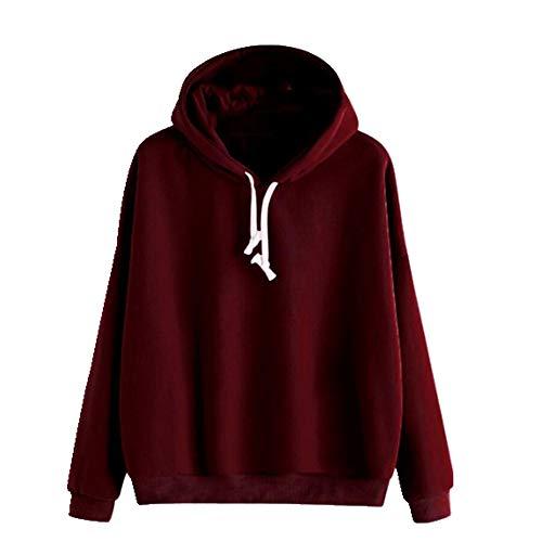 U/A Sweat à capuche unisexe à manches longues Hip-Hop Sport décontracté pour adolescentes, filles, femmes, couleur unie - Rouge - M