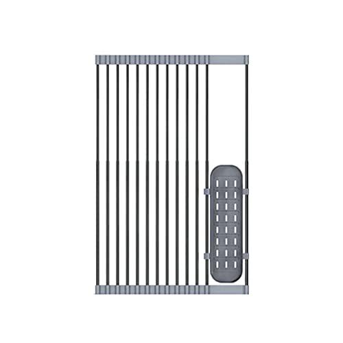 TENKY Estante telescópico plegable de acero inoxidable para secar platos, portátil de cocina enrollable sobre el fregadero, escurridor de platos y escurridor de platos (32 x 58 cm)