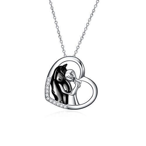 YFN Collana con Ciondolo Cavallo Nero Gioielli in Argento Sterling 925 Ragazze Abbracciano Cavallo Regalo per Donne Ragazze (Collana Cavallo Nero)