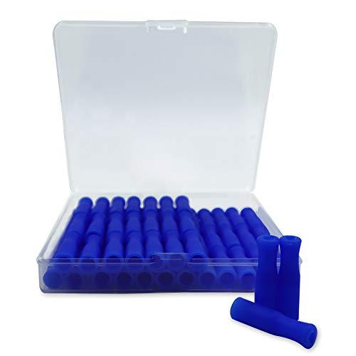 Roucerlin - Set di 60 punte in silicone con scatola portaoggetti, riutilizzabili, per cannucce in acciaio inox, per prevenire graffi sulle labbra (blu)