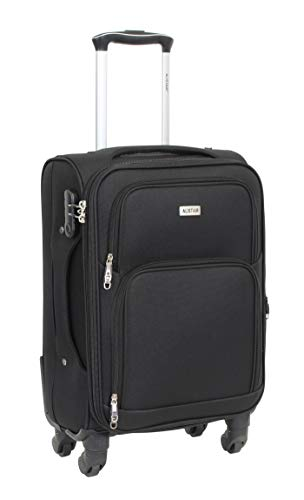 Alistair C-Lite Cabin Size Suitcase - 57 cm - Lightweight and Durable Nylon Canvas - 4 Wheels - French Brand Black Black  S