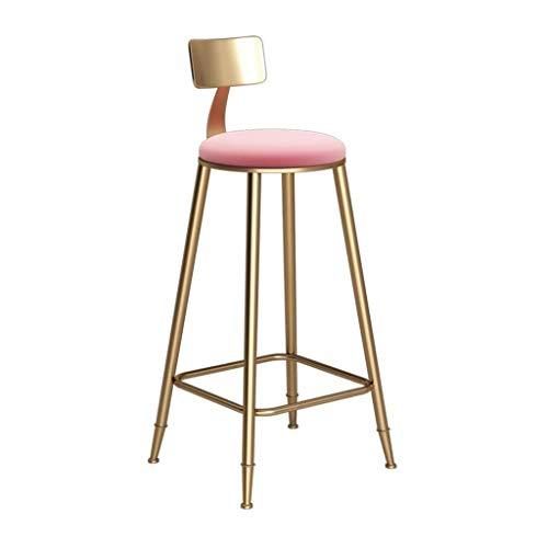 N/Z Wohngeräte Barhocker Moderner und stilvoller Barstuhl Stuhl Fußpolster Schwammkissen Rückenlehne Esszimmerstuhl Küchenbarhocker Metallbeine Belastung 15 kg (Farbe: A Größe: 73CM)