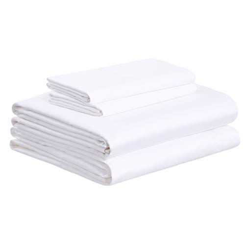 AmazonBasics Super-Soft Sateen 400 Thread Count Cotton Sheet Set - Cal King, White