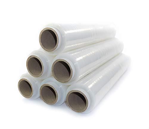 6x transparente Stretchfolie 23my 500 mm 1,5 kg transparente Folie Polyethylen Folie Cast-Film transparent Plastikfolie Einpackfolie Umzugsfolie Verpackungsfolie Hand-Folie durchsichtig
