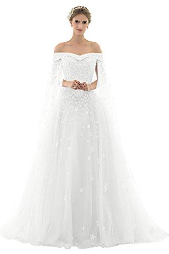 Promgirl House Damen Traumhaft Prinzessin A-Linie Spitze Abendkleider Fest Hochzeitskleider Lang mit Schleppe-38 Weiss