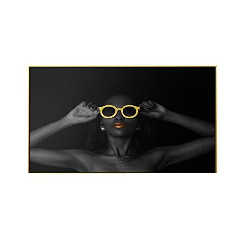 """Pintura moderna sobre lienzo Chica negra Mujer sexy Gafas de sol con labios rojos Arte Imágenes de la pared Cartel grande Sala de estar Decoración del hogar23.6 """"x 39.4' (60x100cm) Sin marco"""