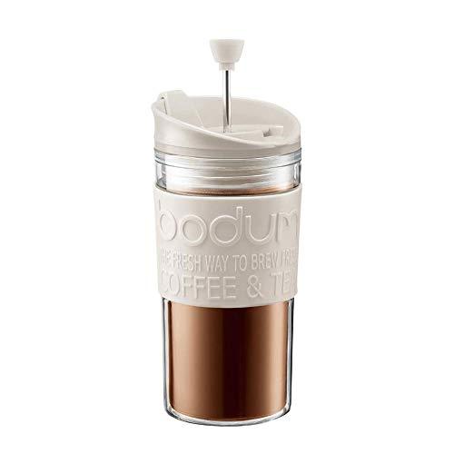 Bodum K11102-913 Travel Press Set Kaffeebereiter mit extra Trinkaufsatz 0,35l, cremeweiß