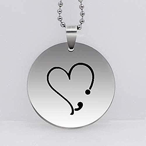 Collar Corazón de Acero Inoxidable Colgante de Punto y Coma Collar Prevención Regalo de Conciencia de Suicidio
