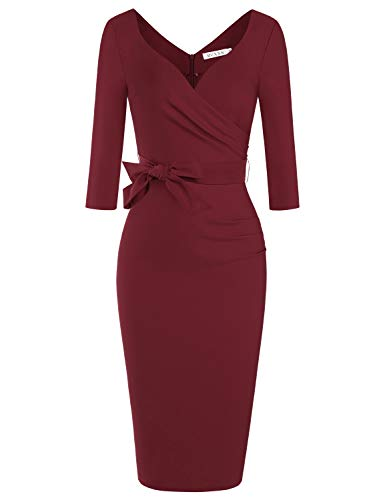 MUXXN Ladies Solid Color Sweetheart Neckline High Stretch Casual Pencil Dress (Merlot XL)
