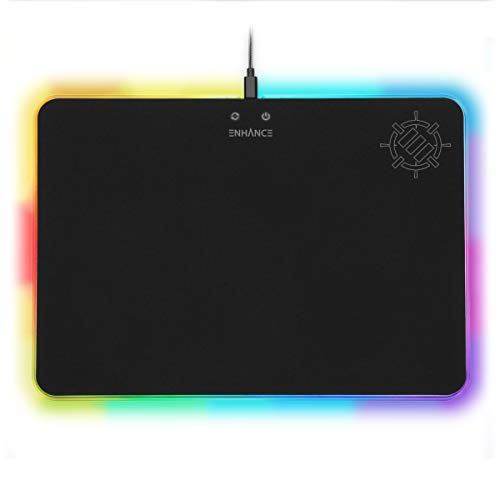 ENHANCE Large LED Gaming Mouse Pad with Soft Fabric Surface - Hard Mouse Mat with 7 RGB Colors & 2 Lighting Effects, Brightness Controls, & Precision Tracking for Esports - Black Fabric