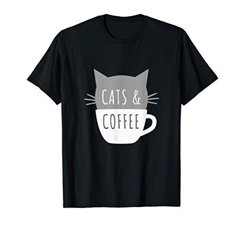 Cats and Coffee - Gatito en una taza divertidos bigotes Camiseta