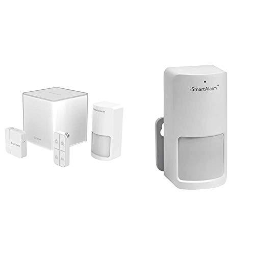 iSmartAlarm Starter Pack, Sistema di Sicurezza Domestico Wireless Modulabile con App per iOs ed Android, Colore Bianco & iSmart Alarm Sensore di Movimento per Sistema di Sicurezza, Bianco
