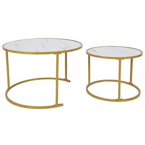 Regalos de mayo 2 piezas de mármol mesa redonda de sala de estar de mármol, mesa de centro simple y elegante, muebles para el hogar, mesa de centro de sala de estar de estilo moderno, marrón antiguo