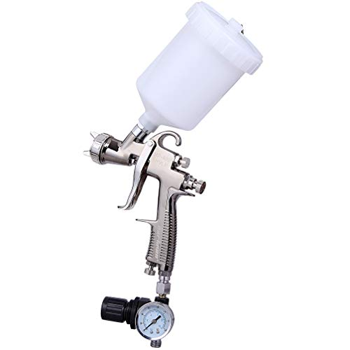 Cartman MP-400 HVLP Gravity Feed Air Spray Gun 20.2 oz Capacity, 9-11 CFM (Cubic Feet per Minute), Optimal Working Pressure 2.0bar/29psi, Nozzle Size:1.3mm with Air Regulator