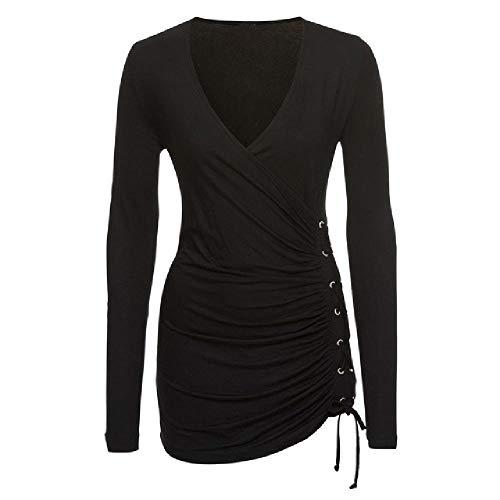 Damen-Tops und Blusen, Vintage-Stil, Schnürung, V-Ausschnitt, lange Ärmel, Tunika Gr. XXL, Schwarz