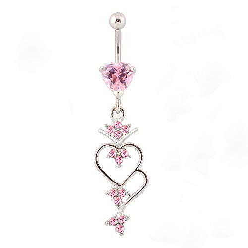 WOWOHE Belly Button Rings - Surgical Steel 14G Pink Hearts Dangling Belly Rings Body Piercing Jewelry for Women Navel Rings