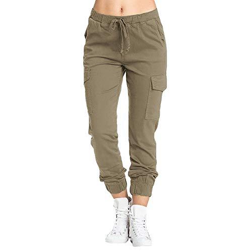 WANC 2021 Pantalones De Cintura EláStica con CordóN para Mujer Pantalones De Oficina para Mujer Pantalones con Bolsillos Sueltos Ocasionales Pantalones De Mujer Streetwear