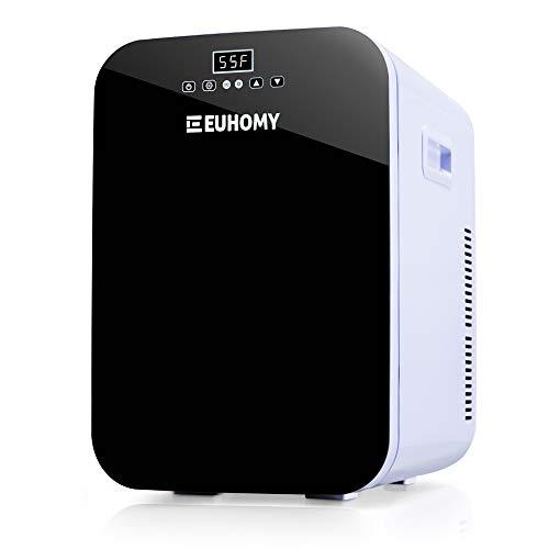 Euhomy Mini fridge for bedroom, 20L Portable fridge & Electric Cooler and Warmer, Car fridge with AC/DC, Small fridge for room, office, dorm. Mini fridge for skin care and cosmetics.(Black)
