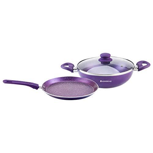 Wonderchef Orchid Non-Stick Induction Base WD Cookware Set of 2 - (Purple)