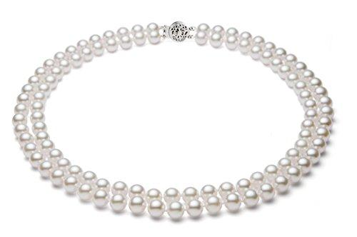 14k oro bianco doppio filo bianco Akoya coltivata collana di perle AA+ qualità (5,5-6 mm), 43,2 cm