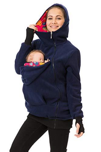 GoFuture 4in1 Babytragejacke für Mama,Papa und Baby Känguru Tragejacke aus Fleece mit Baby und Schwangerschaftseinsatz (M, Marine mit bunten Äpfeln auf rot)