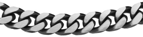 Tuscany Silver Men's Sterling Silver 6.9 mm Oxidised Curb Chain Necklace of Length 46 cm/18 Inch