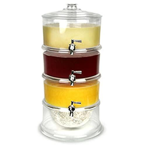 Dispensador de zumo de 3 niveles con capacidad de 4 litros, dispensador de bebidas y dispensador de hielo para la cocina (color: transparente, tamaño: 24 x 47 cm)