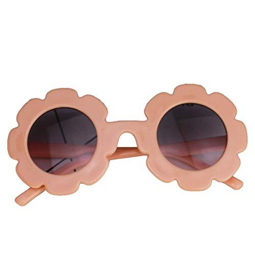 Eghunooye Süße Kinder Blumen Rundes Sonnenbrille UV400,Urlaub Strand Party Fotografie Sonnenschutz Brillen Sonnenbrille Geschenk für Junge Mädchen (Orange, 0-8 Jahre)