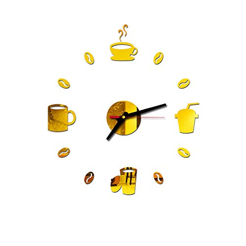STUWON 3D giant wall clock, large digital wall clock, environmental acrylic material, enjoy the fun of DIY, suitable for living room, office, etc.-Golden