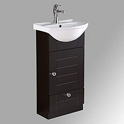 "Mahayla 17 3/4"" Small Cabinet Vanity Bathroom Sink Black With Faucet Drain Overflow And Storage Space Saving Drawer Renovators Supply Manufacturing"