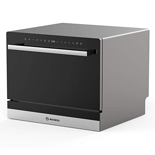 MOOSOO Countertop Dishwasher, Compact Dishwasher with 5 Washing Programs, Portable Dishwasher with Child Lock and Intelligent Heat Drying Function, 6 Place Setting Rack and Silverware Basket