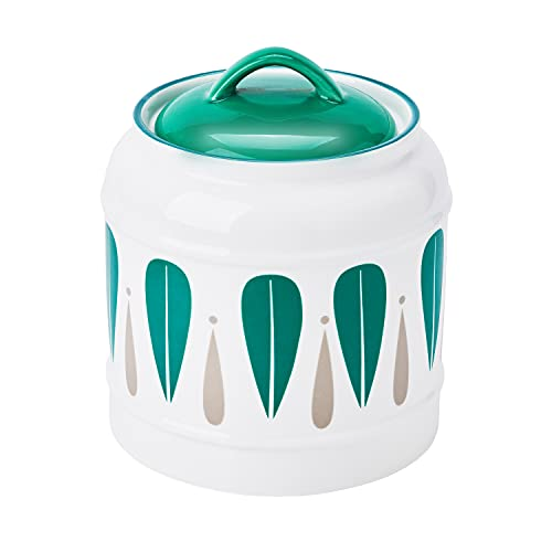 Cookie Jars for Kitchen Counter - Decorative Ceramic Cookie Jar with Airtight Lids - 74 oz Ceramic Storage Container for Cookies, Candy, Snacks (Green, L)