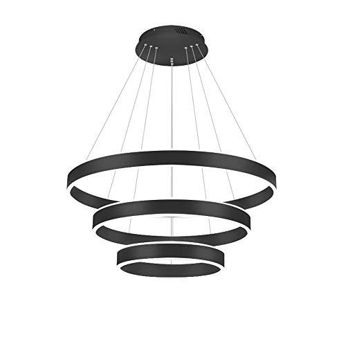 LED LIGHT LIGHT LIGHT LIGHT TRES ARNIURSE ARCHANTELIZO MODERNA CABÍA CAFILIO LIGHTING LIGHTURE FLUSH MONTAJE Lámpara colgante Tricolor Dimmable Negro (60 + 40 + 20cm) [Clase de energía A +++]