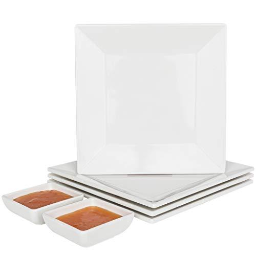 [4 Pack] 10' x 10' White Square Melamine Plates, Unbreakable Elegant Dinnerware Set With Sauce Dish