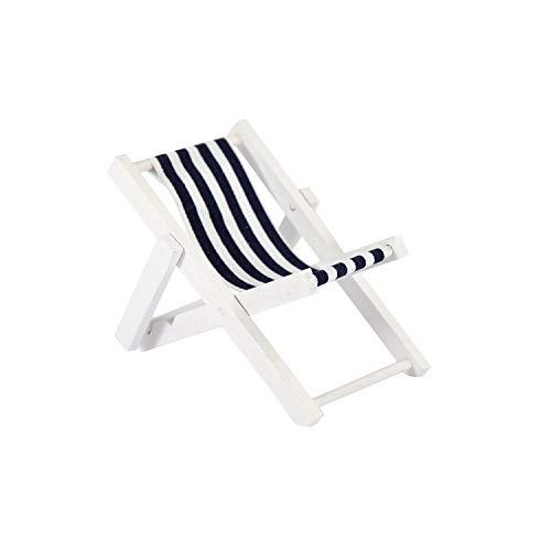 Oblique Unique® Mini Liegestuhl Stuhl Strand Klappstuhl aus Holz Maritime Deko Accessoires mit Anker Sommer Tischdeko Dekoration Blau Weiß - Wählbar (Streifen)