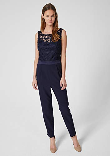 s.Oliver BLACK LABEL Damen Edler Overall mit Spitze deep sea 40 - 5