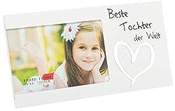 Brandsseller Bilderrahmen Fotorahmen - Beste Tochter der Welt - mit Spiegelherz 25x13x1,5 cm Matt-Weiß