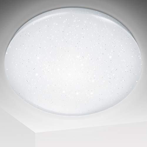 Hengda LED Deckenleuchte mit Sternendekor 16W 1440Lm Ø34cm (Kaltweiss 6000-6500K) Flimmerfreie Deckenlampe Sternenlicht IP44 Badlampe für Kinderzimmer Wohnzimmer Schlafzimmer Balkon Küche