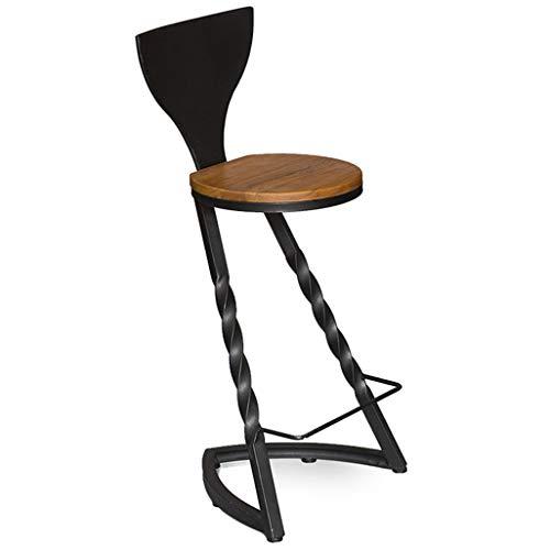 Repose-pieds de chaise de tabourets industriels avec le dossier Tabouret de bar café Max. Charge 150 kg jambes en métal noir (taille : Seat height:75cm)