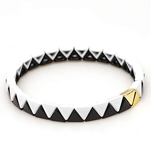 KANYEE Elastische Armbänder Schwarz Weiß Colorblock Dreieck Legierung Emaillierte Fliesen Perlen Armreif Verstellbares Schmuckgeschenk
