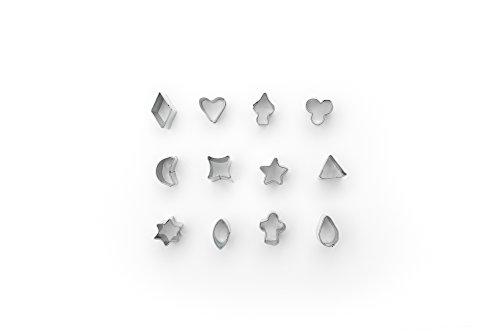 Fox Run Conjunto de cortadores de fondant Mini Shapes, estrela pequena, diamante, coração, trevo, espada, lua, oval, 12 peças, aço inoxidável
