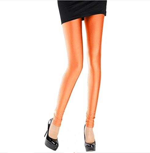 AAJIA,Yoga vêtements,Leggings de Pantalons Brillants pour Femmes Leggings de de Couleur Unie Fluorescent Spandex élasticité Pantalon décontracté Legging Brillant, K036 Orange, L