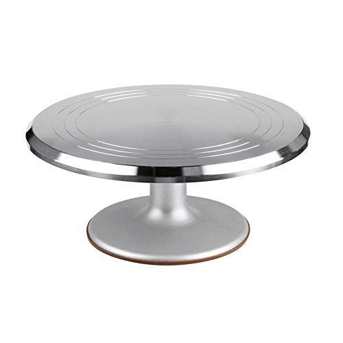 dewdropy Mesa Giratoria para Tartas, Plato para Tartas con Base Giratoria Herramientas De Hornada Plato De 12 Pulgadas De Aleación De Aluminio Placa Giratoria De Cerámica