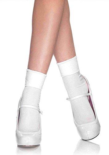 Leg Avenue Women's Anklet Socks, Cuff White, One Size