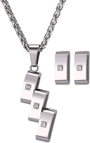 Aluyouqi Co.,ltd Collar Collar con Colgante De Diamantes De Imitación Pendientes Color Plateado Conjunto De Joyas con Forma De Moño Hueco para Mujer Longitud del Collar 50Cm + 5Cm